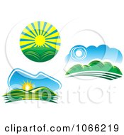 Clipart Sun And Landscapes Royalty Free Vector Illustration