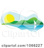 Clipart Sailing Summer Landscape Royalty Free Vector Illustration