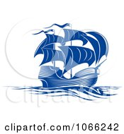 Clipart Blue Ship Royalty Free Vector Illustration