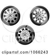 Clipart Three Tires Royalty Free Vector Illustration