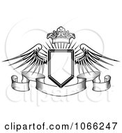 Clipart Winged Crowned Shield Over A Banner 2 Royalty Free Vector Illustration by Vector Tradition SM
