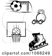 Clipart Black And White Sports Icons 2 Royalty Free Vector Illustration