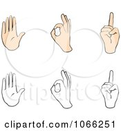 Clipart Sign Language Digital Collage 1 Royalty Free Vector Illustration