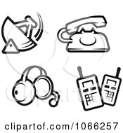 Clipart Black And White Communication Icons Royalty Free Vector Illustration