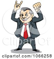 Clipart Victorious Businessman Royalty Free Vector Illustration