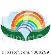 Clipart Leaf And Rainbow Landscape Logo Royalty Free Vector Illustration by Vector Tradition SM