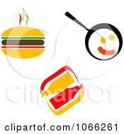 Clipart Hamburger Condiments And Eggs Royalty Free Vector Illustration