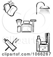 Clipart Black And White Hygiene Icons Royalty Free Vector Illustration by Vector Tradition SM