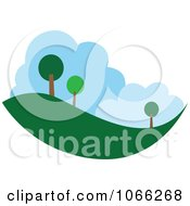 Clipart Tree And Landscape Logo Royalty Free Vector Illustration