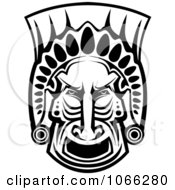 Clipart Black And White African Tribal Mask Royalty Free Vector Illustration
