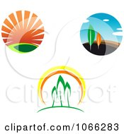 Clipart Sunsets And Trees Royalty Free Vector Illustration