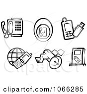 Clipart Black And White Phone Icons Royalty Free Vector Illustration