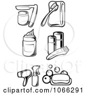 Clipart Black And White Cosmetic Icons 1 Royalty Free Vector Illustration