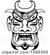 Clipart Tribal Mask Black And White 2 Royalty Free Vector Illustration