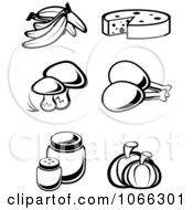 Clipart Black And White Food Icons 4 Royalty Free Vector Illustration