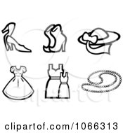 Clipart Black And White Fashion Icons 2 Royalty Free Vector Illustration