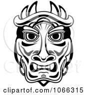 Clipart Tribal Mask Black And White 1 Royalty Free Vector Illustration