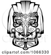 Clipart Tribal Mask Black And White 7 Royalty Free Vector Illustration