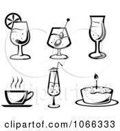 Clipart Black And White Food Icons 3 Royalty Free Vector Illustration