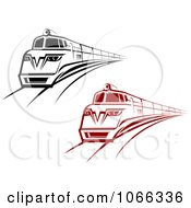 Clipart Red And Black Trains Royalty Free Vector Illustration