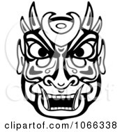 Clipart Tribal Mask Black And White 3 Royalty Free Vector Illustration
