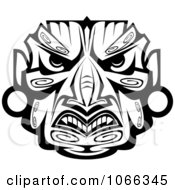 Clipart Tribal Mask Black And White 8 Royalty Free Vector Illustration