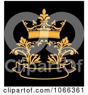 Clipart Floral Crown And Banner Royalty Free Vector Illustration