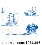 Clipart Blue Ships 1 Royalty Free Vector Illustration