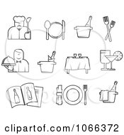 Clipart Black And White Dining Icons Royalty Free Vector Illustration by Vector Tradition SM