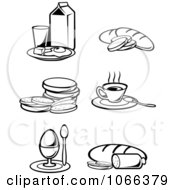 Clipart Black And White Food Icons 1 Royalty Free Vector Illustration