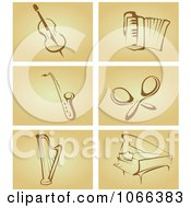 Clipart Instruments On Tan Royalty Free Vector Illustration by Vector Tradition SM