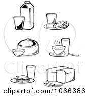 Clipart Black And White Food Icons 2 Royalty Free Vector Illustration
