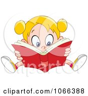Clipart Girl Reading A Good Book Royalty Free Vector Illustration