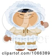 Clipart Waving Eskimo Child Royalty Free Vector Illustration by yayayoyo
