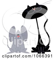 Clipart Black Cat And Mouse Friend Royalty Free Vector Illustration