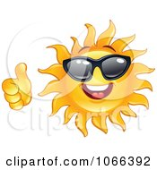 Clipart Thumbs Up Sun Wearing Shades Royalty Free Vector Illustration