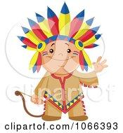 Clipart Native American Indian Boy Waving Royalty Free Vector Illustration by yayayoyo