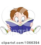 Clipart Boy Reading A Good Book Royalty Free Vector Illustration