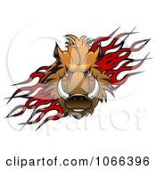 Clipart Razorback Boar Over Flames Royalty Free Vector Illustration