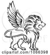Outlined Winged Lion Profile
