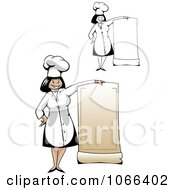 Clipart Female Chefs With Blank Menus Royalty Free Vector Illustration