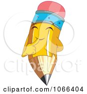 Clipart Pencil Character Smiling Royalty Free Vector Illustration by Pushkin
