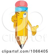 Clipart Pencil Character Thinking Royalty Free Vector Illustration by Pushkin