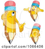 Clipart Pencil Characters With Expressions Royalty Free Vector Illustration by Pushkin