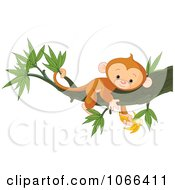 Clipart Tired Monkey Resting In A Tree With A Banana Royalty Free Vector Illustration