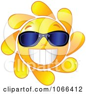 Clipart Cheery Sun Wearing Sunglasses Royalty Free Vector Illustration by Pushkin