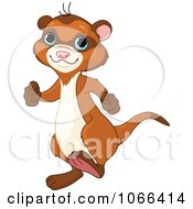 Clipart Happy Ferret Walking Upright Royalty Free Vector Illustration by Pushkin