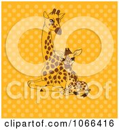 Mother And Baby Giraffe Over Yellow Dots