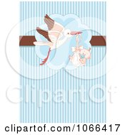 Clipart Stork And Baby Boy Over Blue Stripes Royalty Free Vector Illustration by Pushkin