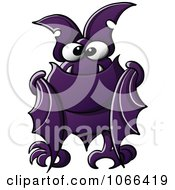 Clipart Purple Vampire Bat Folding Its Wings Royalty Free Vector Illustration by Zooco